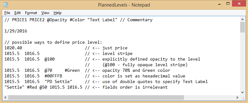 Price levels definition in text file